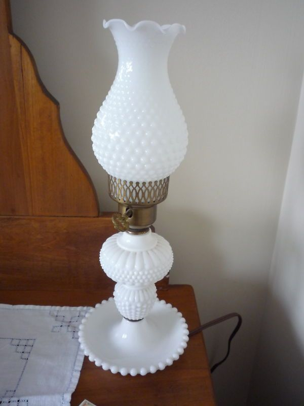 Antique Pair Of Hobnail Milk Glass Table Lamps, Excellent Condition | EBay