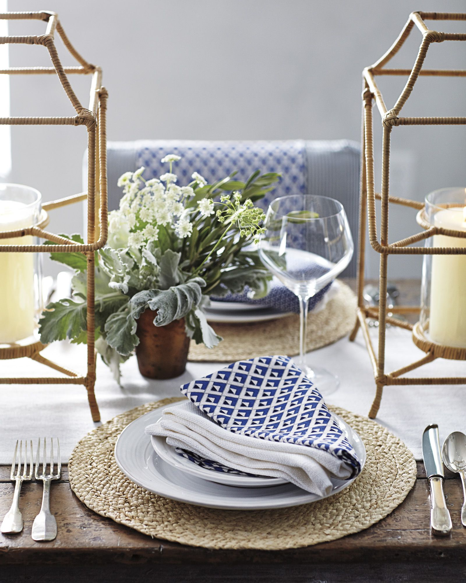 Jewel Napkins and Raffia Placemat #serenaandlily | Swivel dining chairs, Table