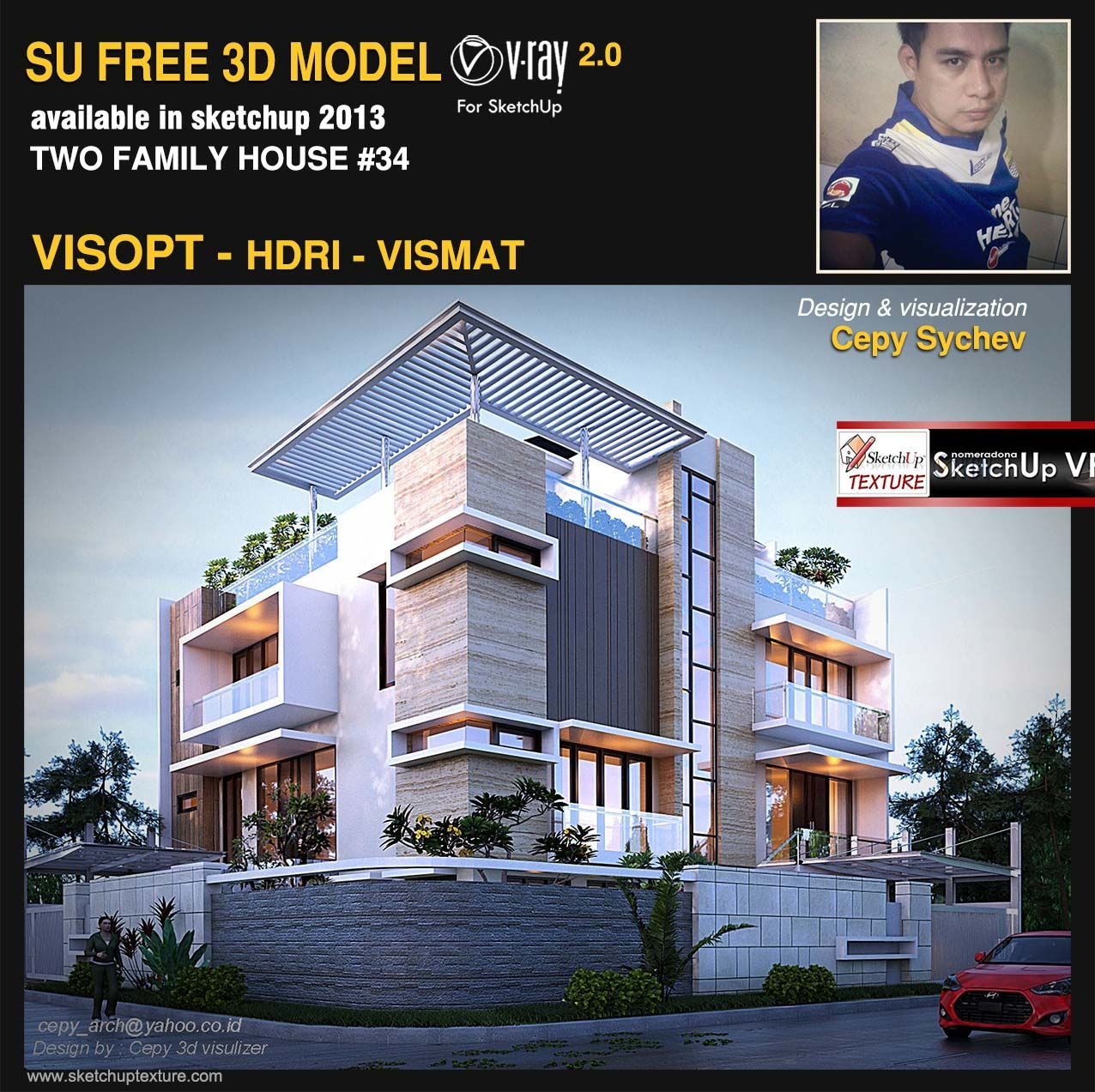 Home Design Software Sketchup: Free Sketchup Model Two Family House #34 Visopt And Vray