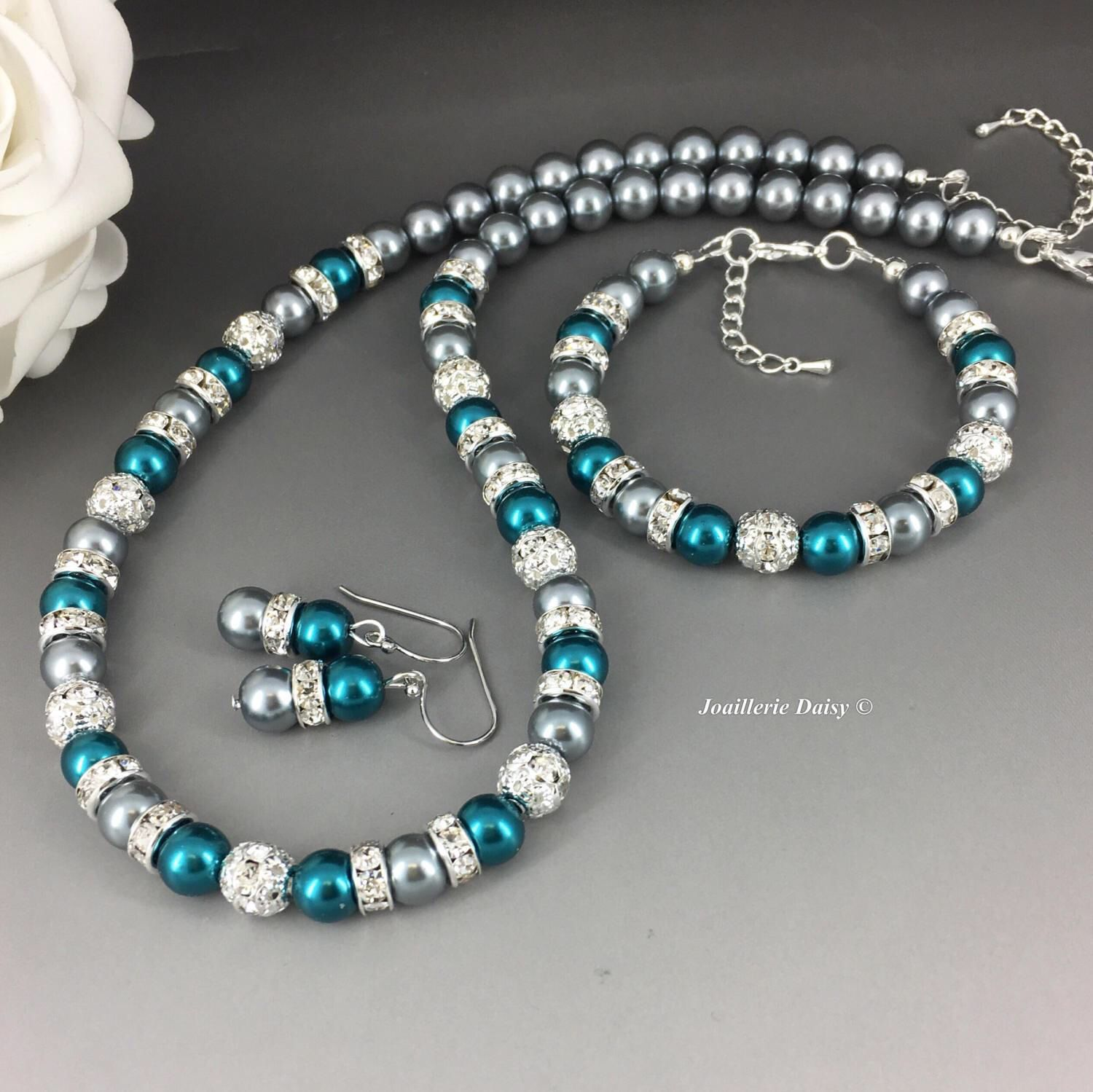 Grey and Teal Necklace Jewelry Set Teal Wedding Bridesmaid