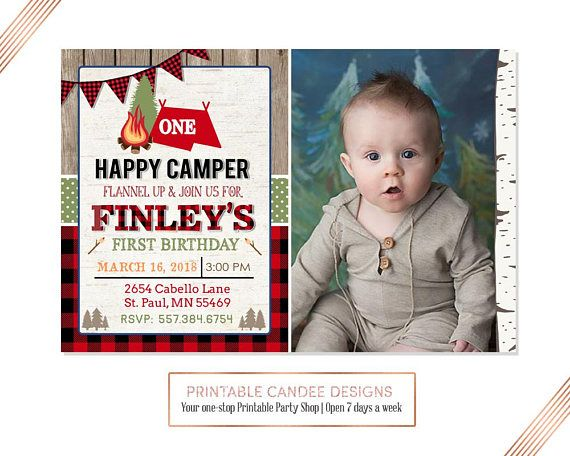 Camping Birthday Invitation One Happy Camper Lumberjack Party Buffalo Plaid Par