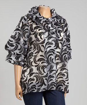 Loving this Silver & Black Flourish Jacket - Plus on #zulily! #zulilyfinds