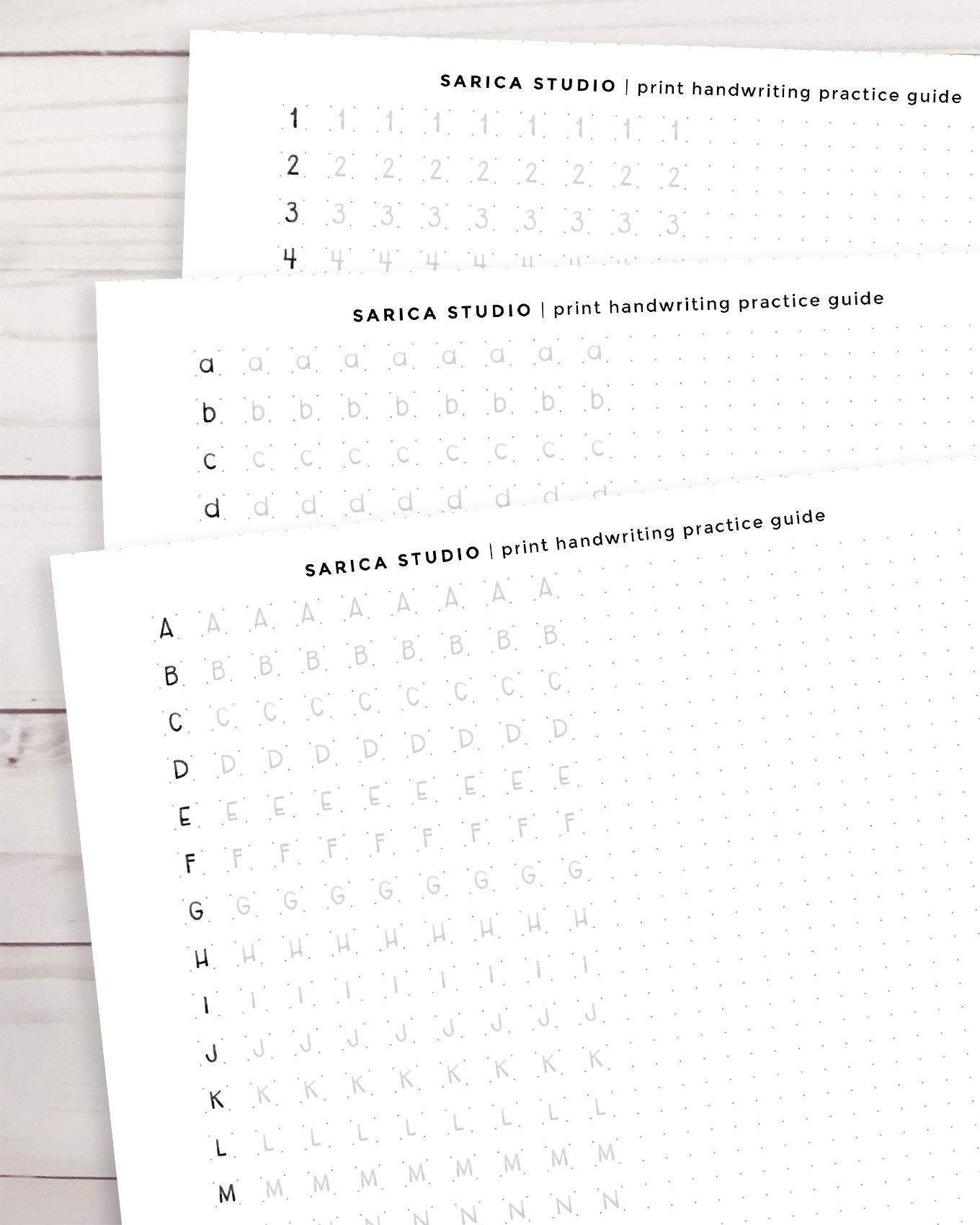 Print Handwriting Practice Guide Dot Grid Digital