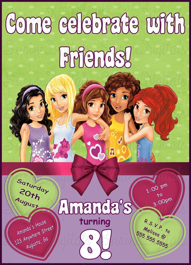 Lego friends Themed Birthday Party Invitation/ Girl Friends Fun ...