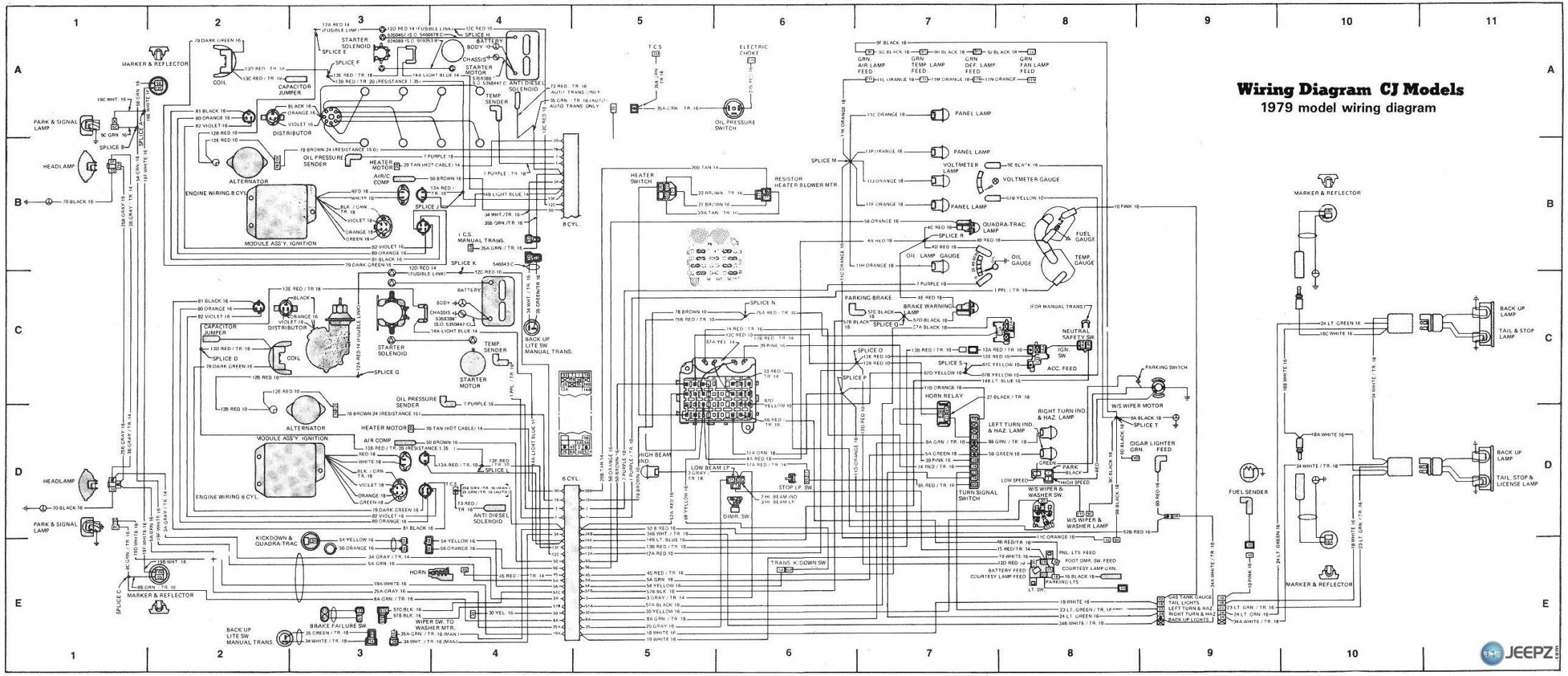 79 jeep cj7 wiring diagram detailed schematics diagram rh keyplusrubber com 1967 Jeep CJ5 Ignition Wiring On a A Jeep CJ5 Headlight Wiring Diagrams