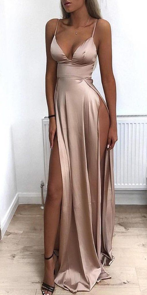 Cheap Spaghetti Straps Side Split Simple Modest Sexy Prom Dresses Slit Formal Gowns Cheap Evening Gowns ML5001