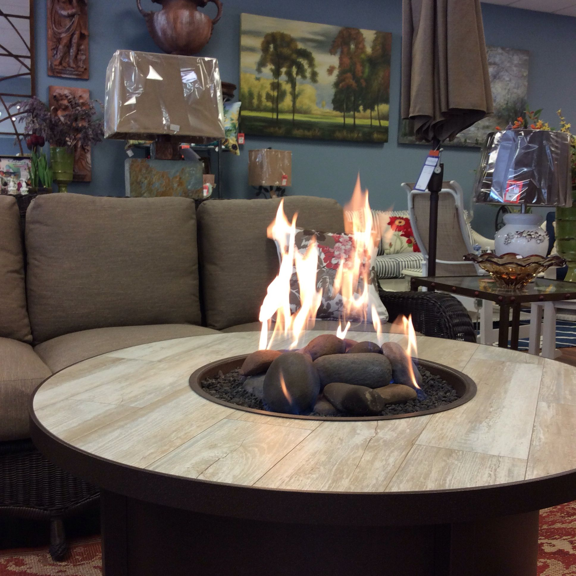ow lee 42 santorini fire pit ceramic river rock commercial grade