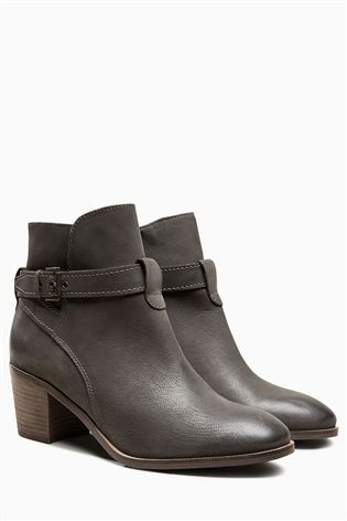 060509c87df23 Buy Grey Leather Casual Strap Heel Boots from the Next UK online shop