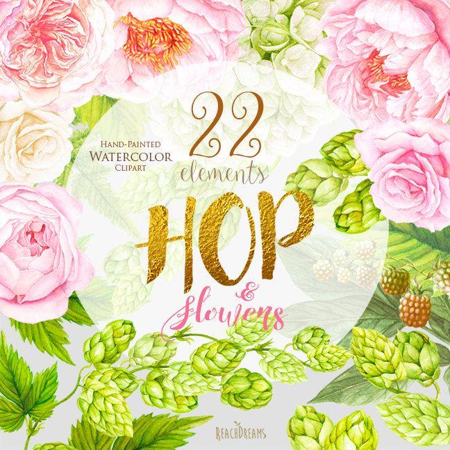 Matrimonio acquerello Clipart Hop fiori di peonie di ReachDreams