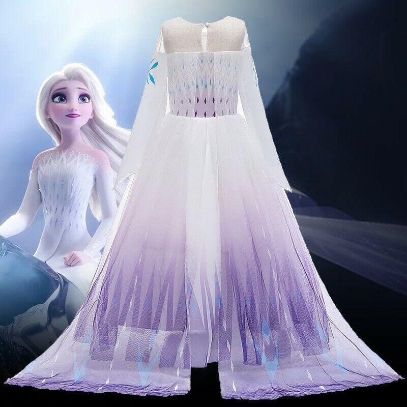 Elsa Fancy Dress Girls Frozen 2 Cosplay Costume Birthday