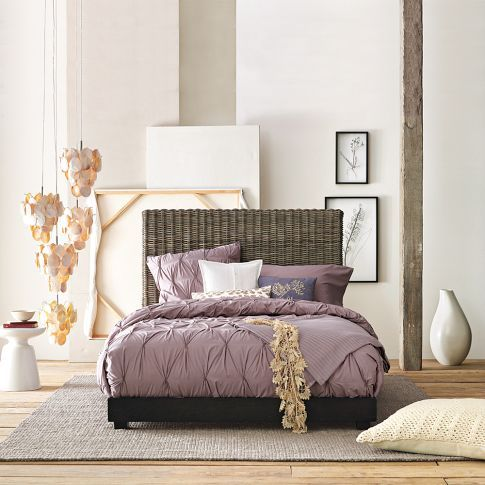 Organic Cotton Pintuck Duvet Cover + Shams - Light Amethyst from West Elm