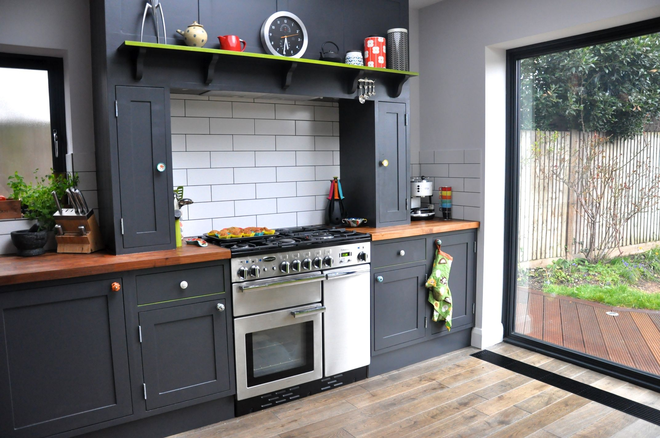 The result of our renovation kitchen hand painted for Small kitchen black cabinets