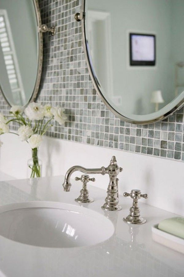 Old school faucet on bathroom vanity gray mosaic tile for Old tile bathroom ideas