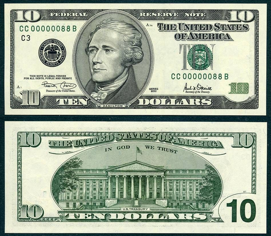 2001 10 Federal Reserve Note S N Cc 00000088 B Low Numbered Eighty Eight Ebay 2 2013 Curr Bills Printable Federal Reserve Note Printable Play Money