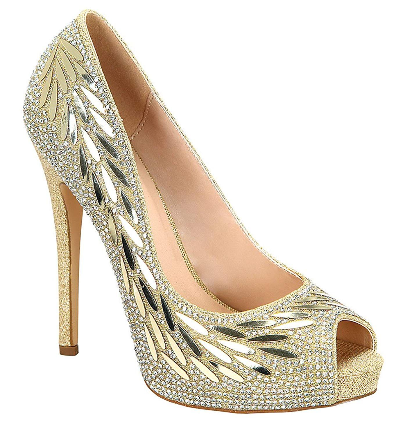 ba18d1469ffca0 ... Shoe Trends. De Blossom Collection Women s Rhinestone Floral Detail Peep  Toe Platform. Sparkle and shine all night