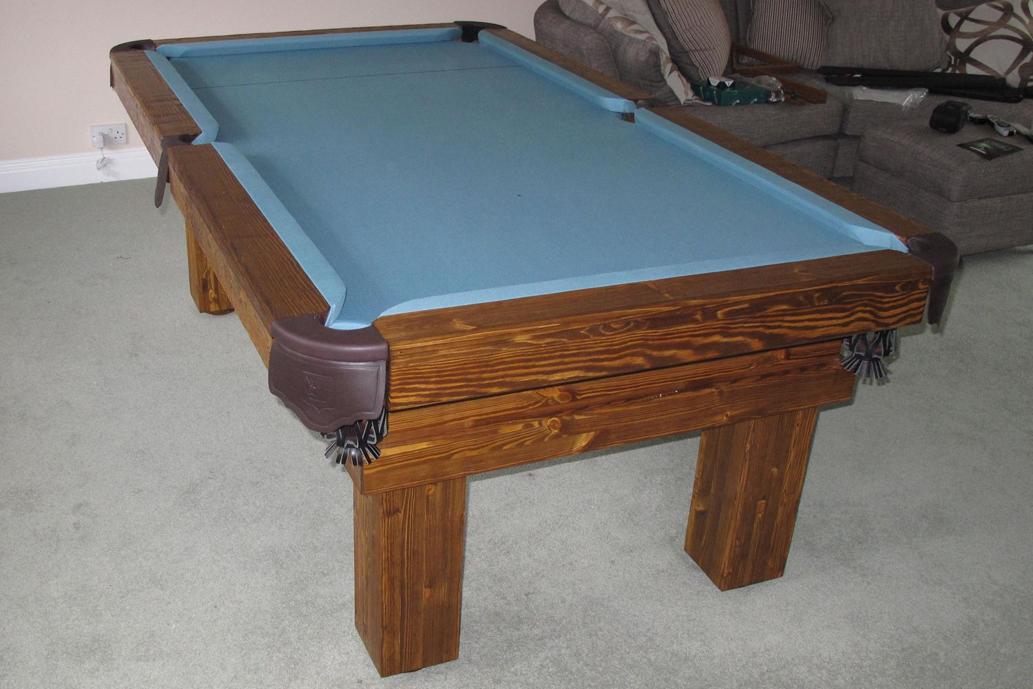 Rustic Pool Table In Softwood #6 And A Powder Blue Cloth. Www.luxury