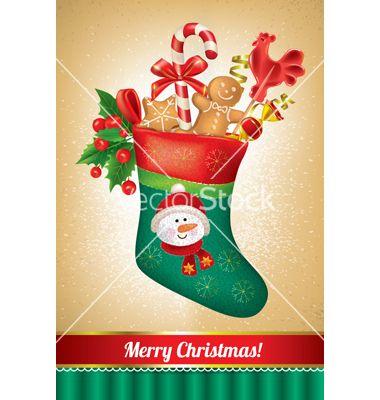 Merry christmas greeting card vector - by pinkcoala on VectorStock