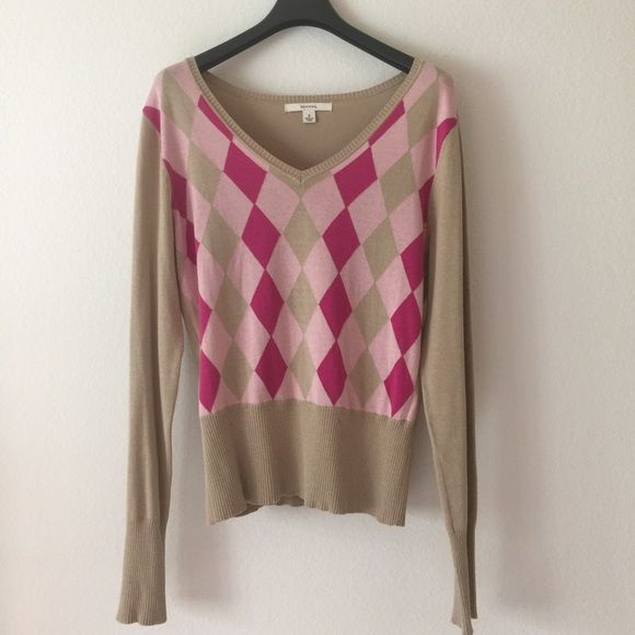 Argyle sweater Tan,fuschia, and light pink Merona Sweaters V-Necks