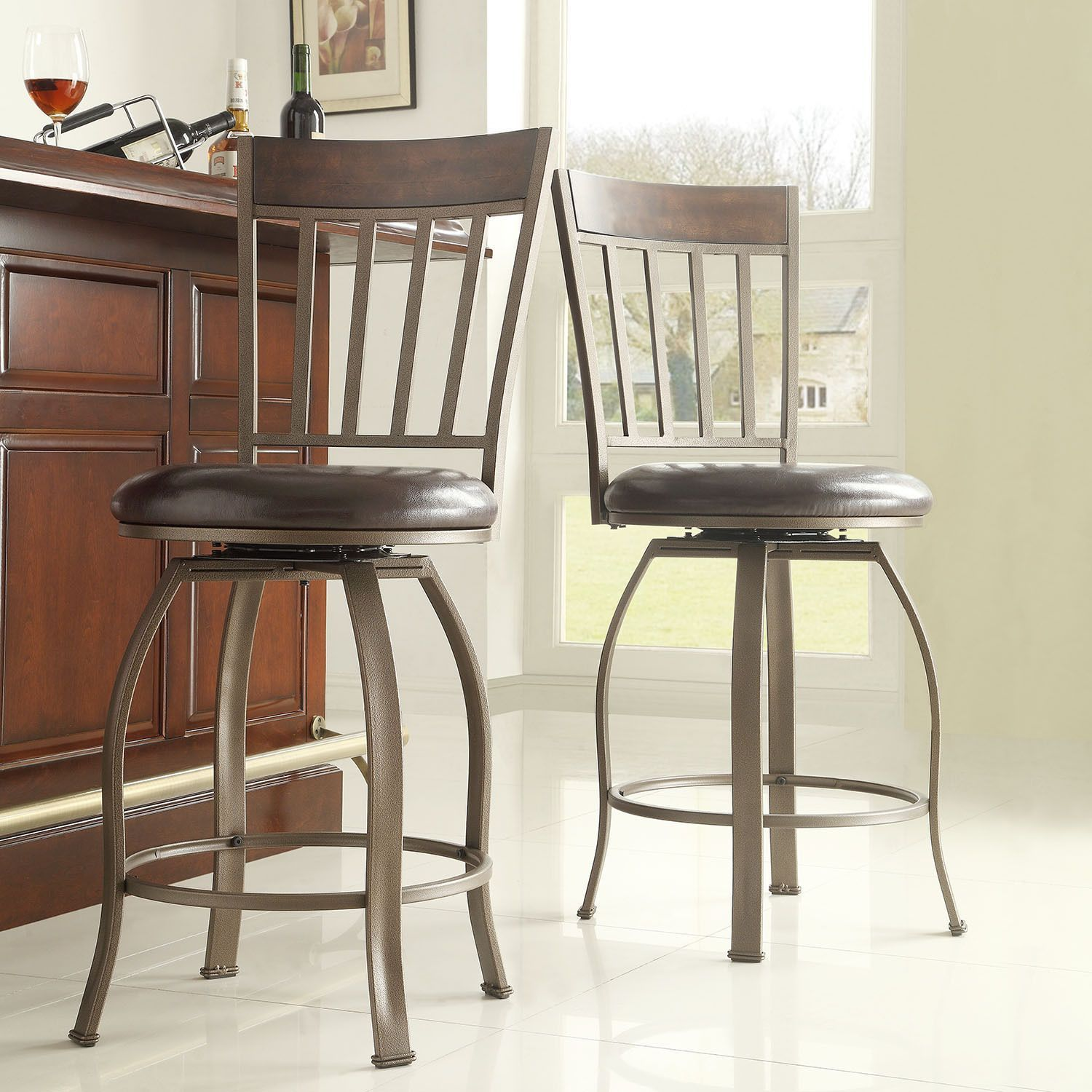Keyaki Rustic Bronze Swivel High Back Counter Height Stools (Set of 2) by  iNSPIRE Q Classic