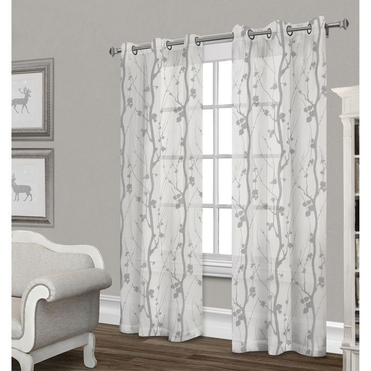 Corfu Sheer Curtain Panel Dove Gray 84 In