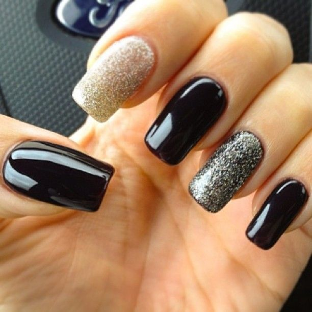 Black White Glitter Nail Polish