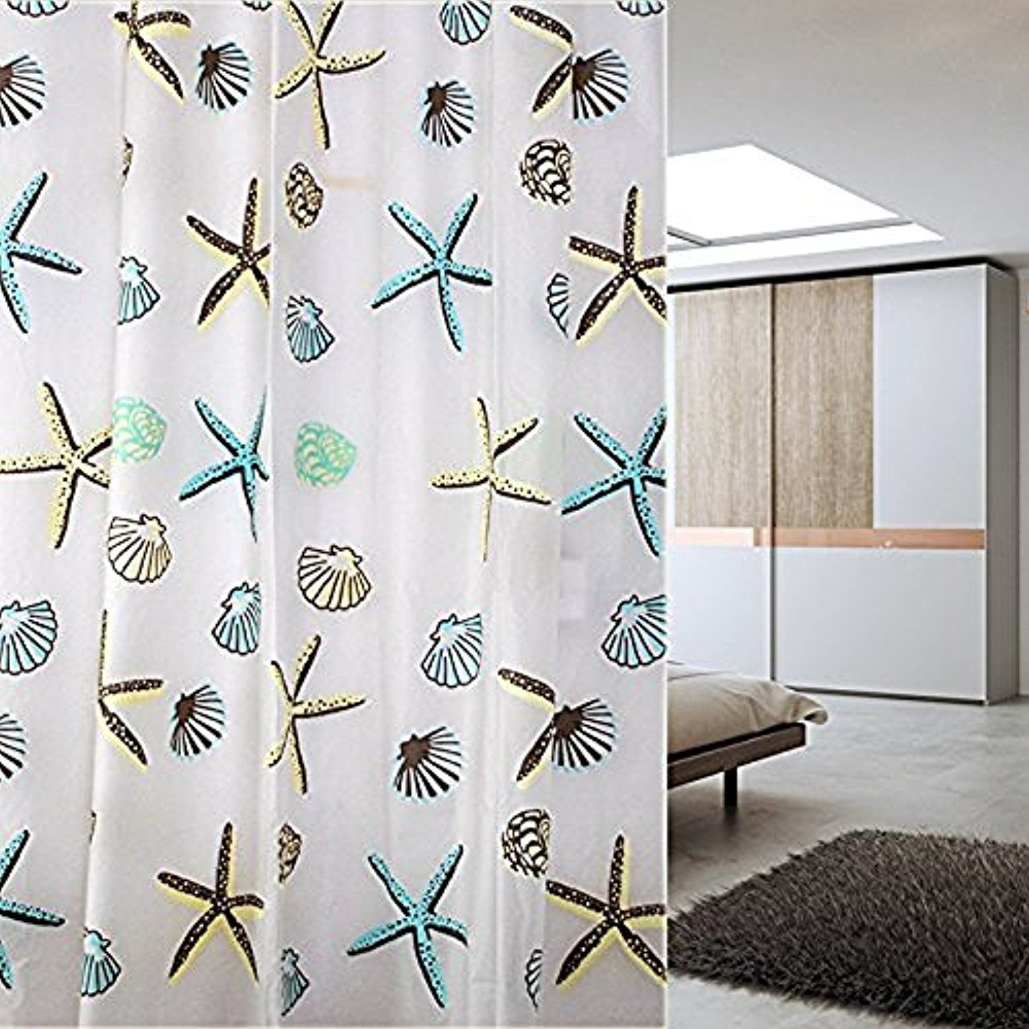 JynXos Starfish and Sea Shells PEVA Mildew Free Water Repellant Shower Curtain 72X80 Inch >>> Visit the image link more details. (This is an affiliate link) #Bath