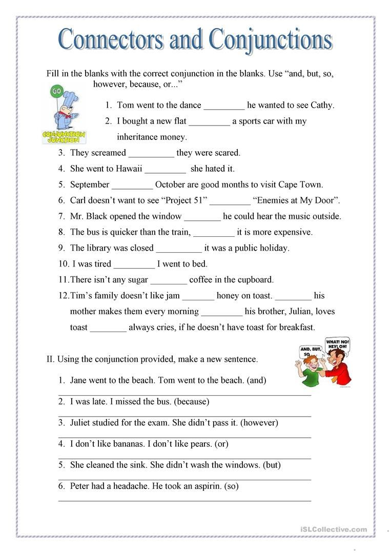 Conjuctions and Connectors worksheet - Free ESL printable worksheets made  by teacher…   Practice english grammar [ 1079 x 763 Pixel ]