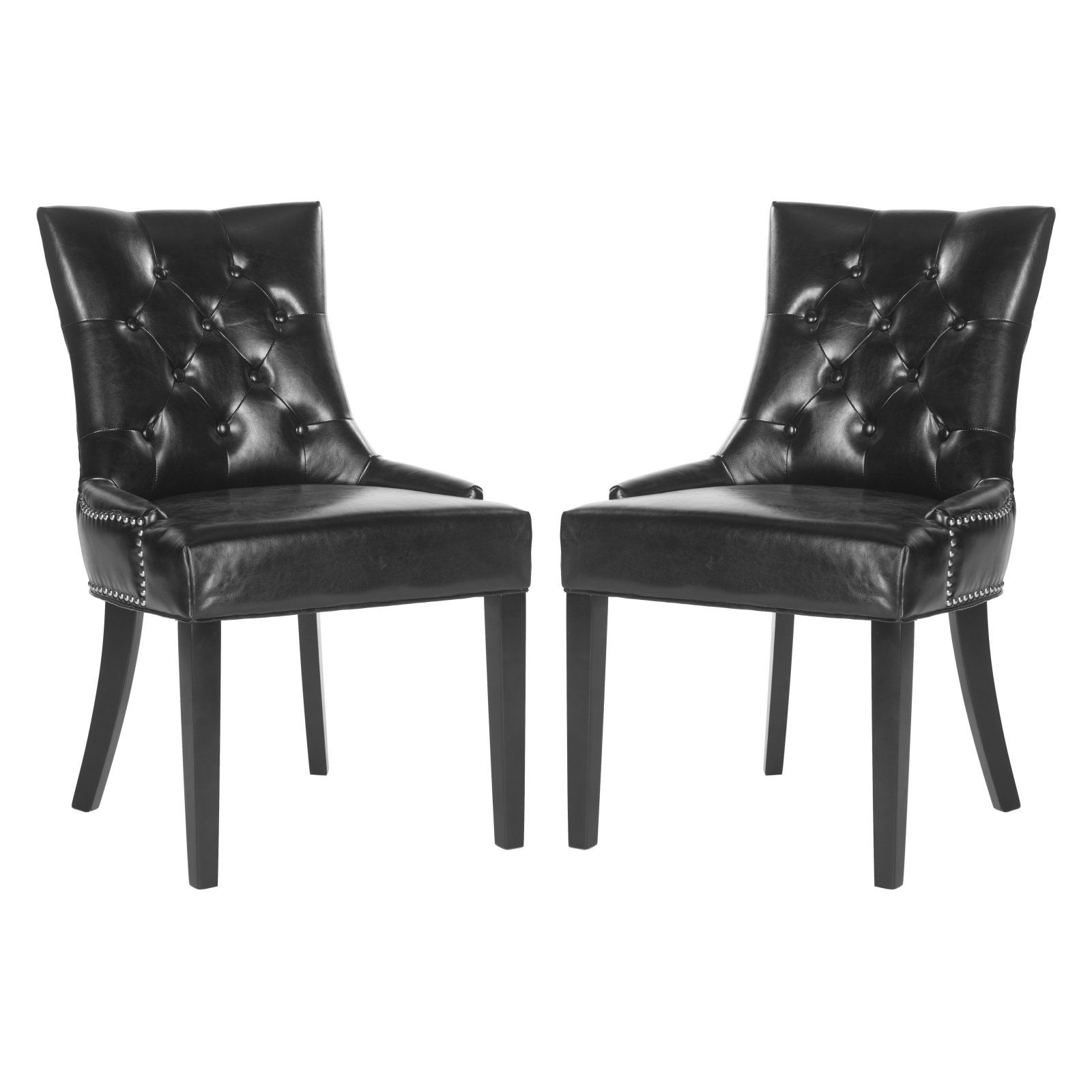 Safavieh Harlow Tufted Ring Dining Chairs Set Of 2 Leather