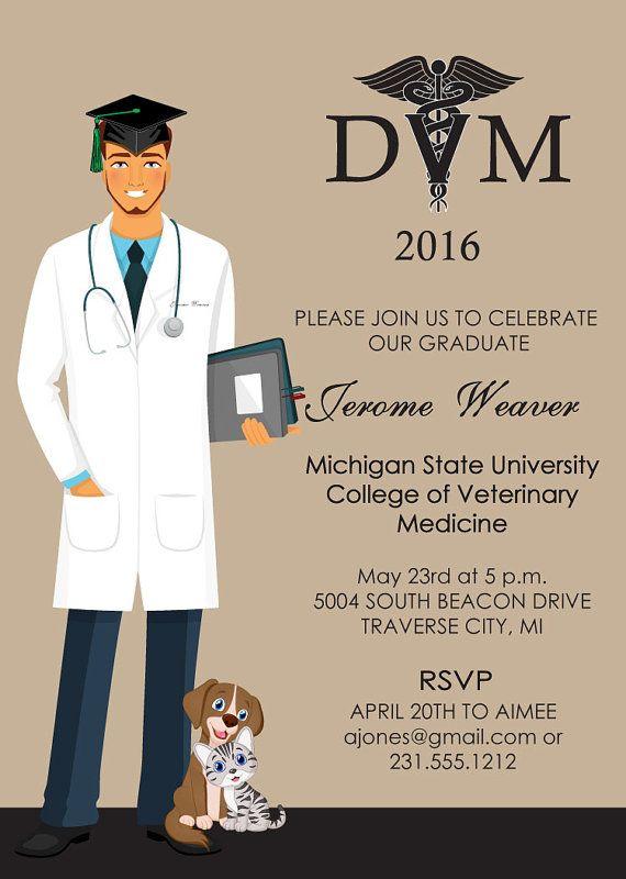 Veterinarian Graduation Invitation Animal By Announceitfavors