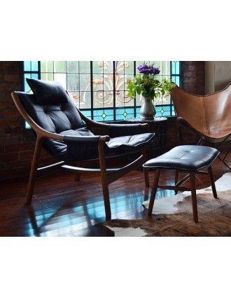 Themodern Au Reading Chair With Ottoman Walnut