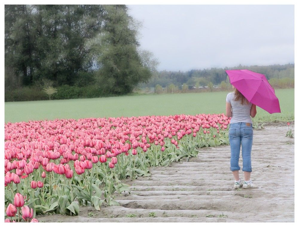 My sister on a rainy day.