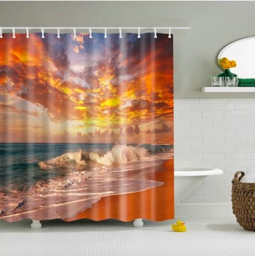 Majestic Beach Sky Fabric Shower Curtain Fabric Shower Curtains
