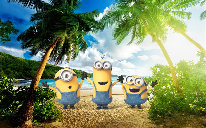 Download wallpapers Minions, 4k, palms, exotic beach, Kevin