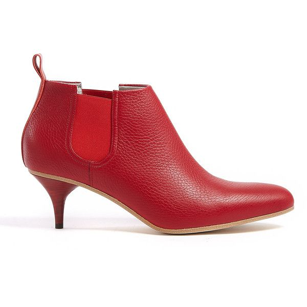 a3efad4d83f Acne Palma Patent Leather Mid Heel Ankle Boot ( 560) found on Polyvore. Red  leather mid heel Palma ankle boot featuring a pointed toe