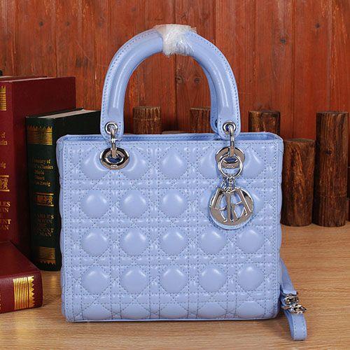 5d8e830dc7fb Christian Dior Blue Sheepskin Leather Mini Lady Dior Bag D6322 ...