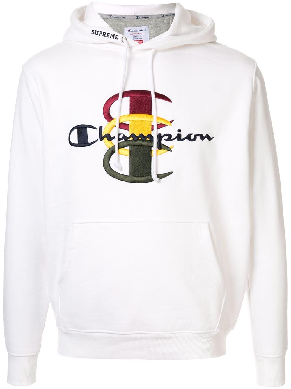 Supreme Champion Stacked Hooded Sweatshirt In White Modesens Hooded Sweatshirts Sweatshirts White Sweatshirt [ 1334 x 1000 Pixel ]