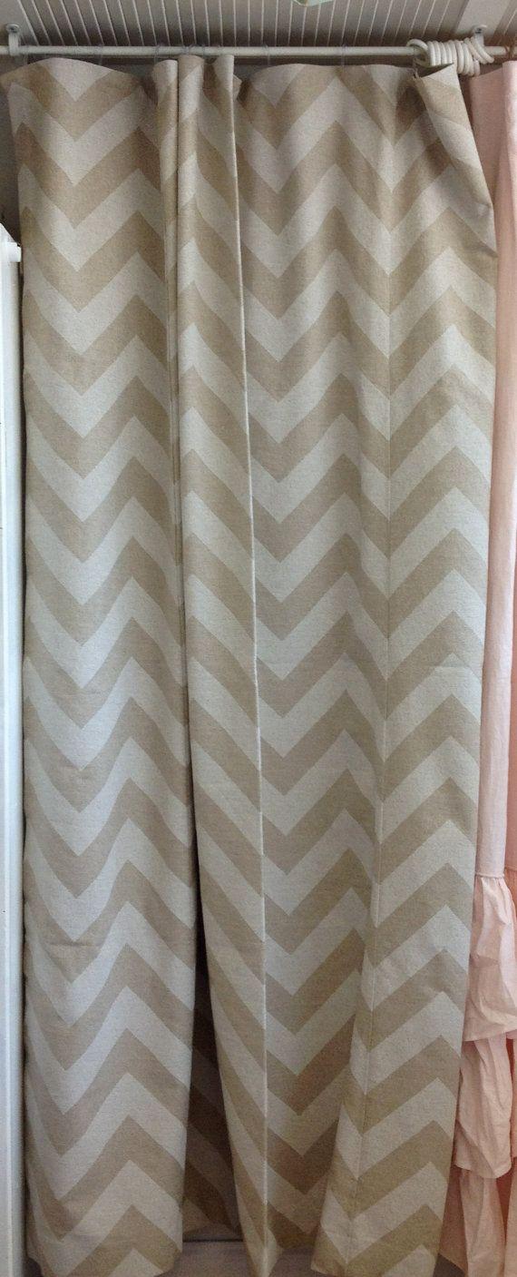 74x90 Khaki And White Chevron Shower Curtain By Ldlinens On Etsy