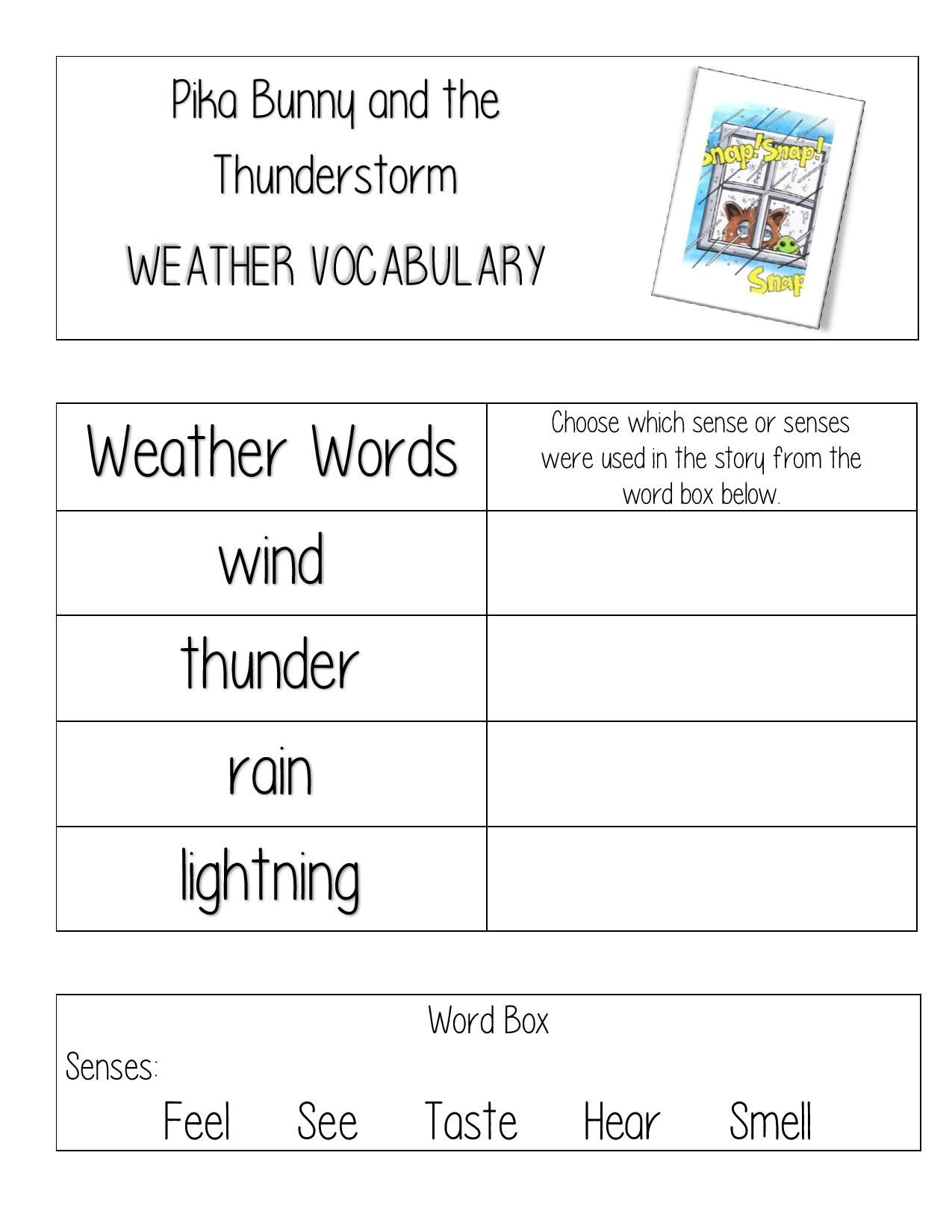 Free Weather Worksheet For Teachers And Homeschool For Pika Bunny And The Thunderstorm