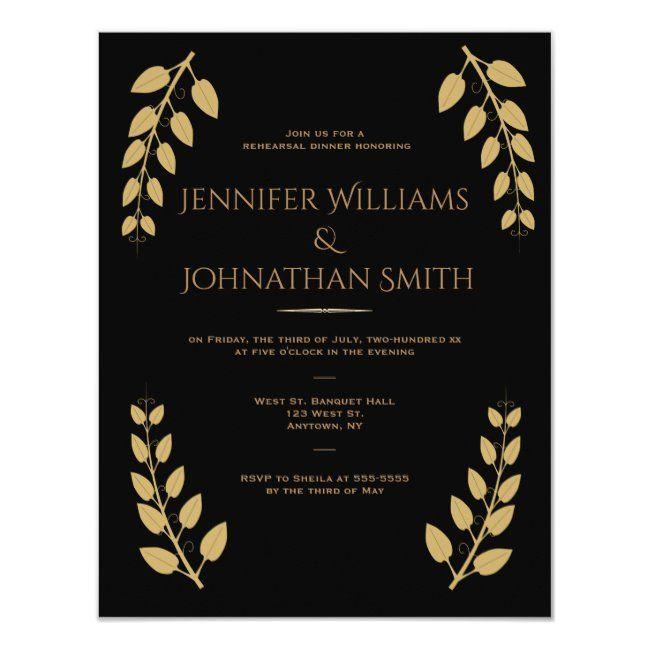 Black  gold vines dinner invitations