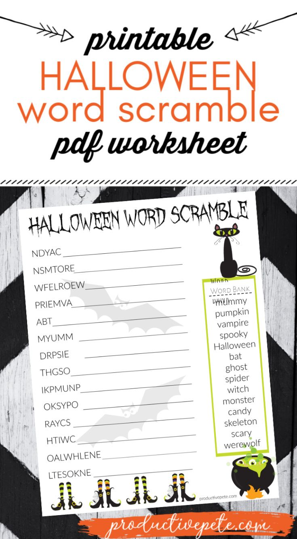 Free Printable Halloween Word Scramble Worksheet PDF for