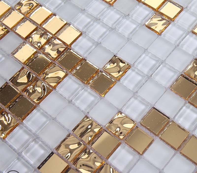 Gold And Cream Mirrored Glass Mosaic Tile Murals Frosted Crystal