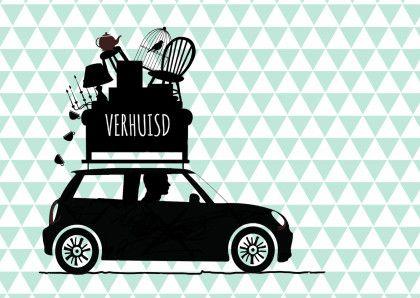 fe5aa756425 Verhuiskaart auto driehoekjes av   Verhuiskaarten - Verhuis kaart ...