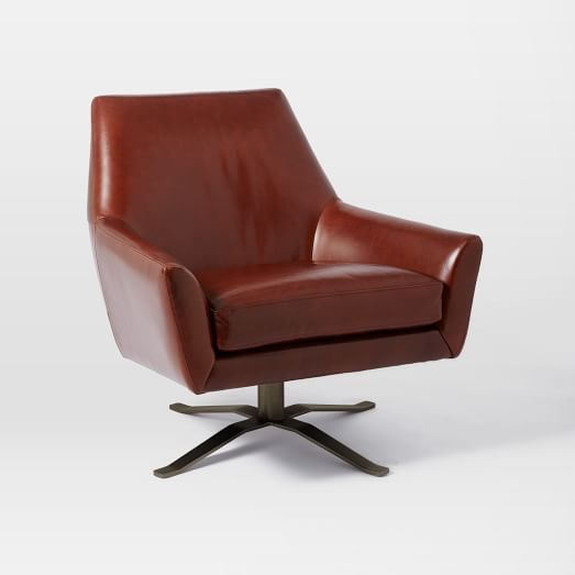 Living Room Chairs Lucas Leather Swivel Base Chair