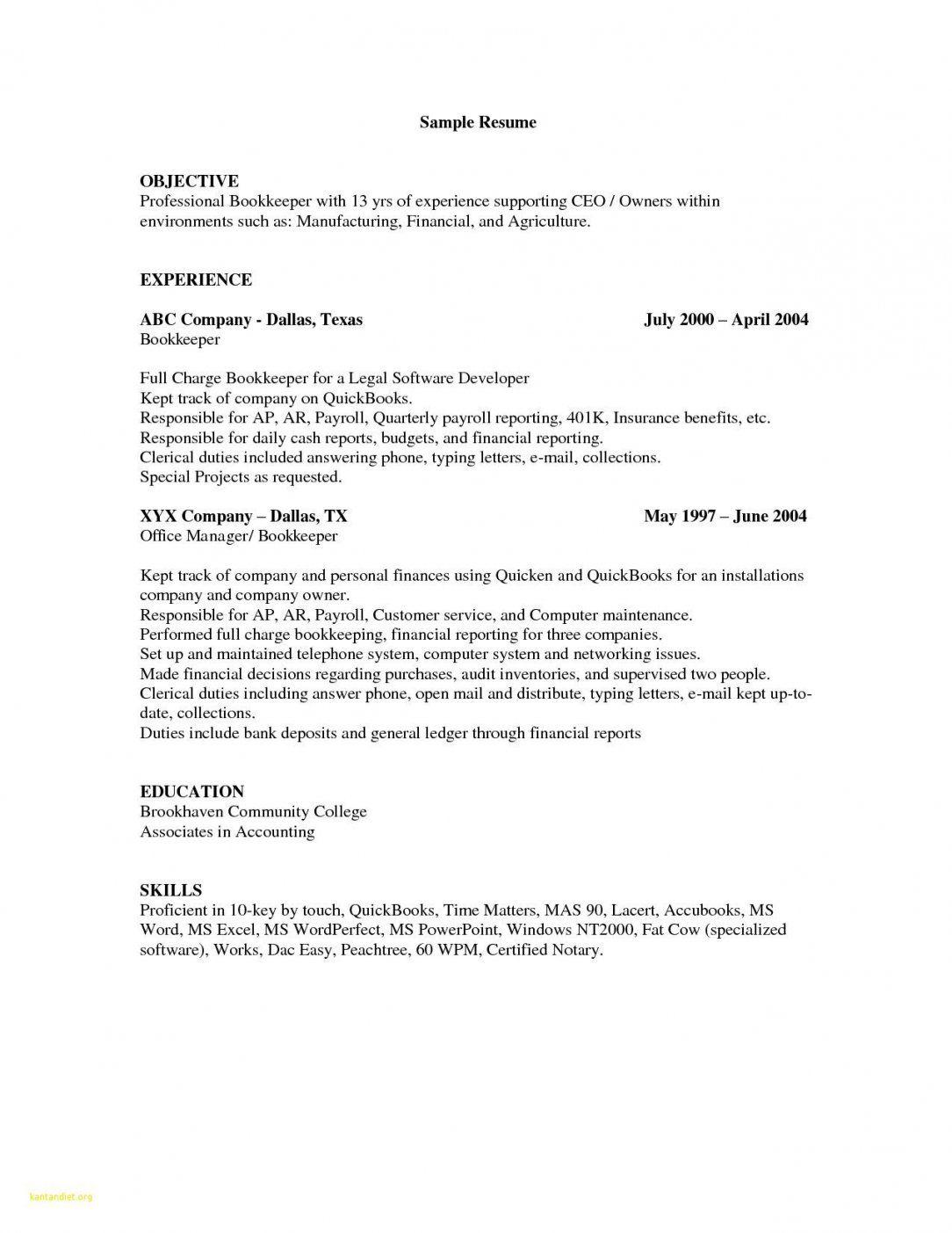 Resume Examples Quickbooks Resume Examples Resume Resume Objective