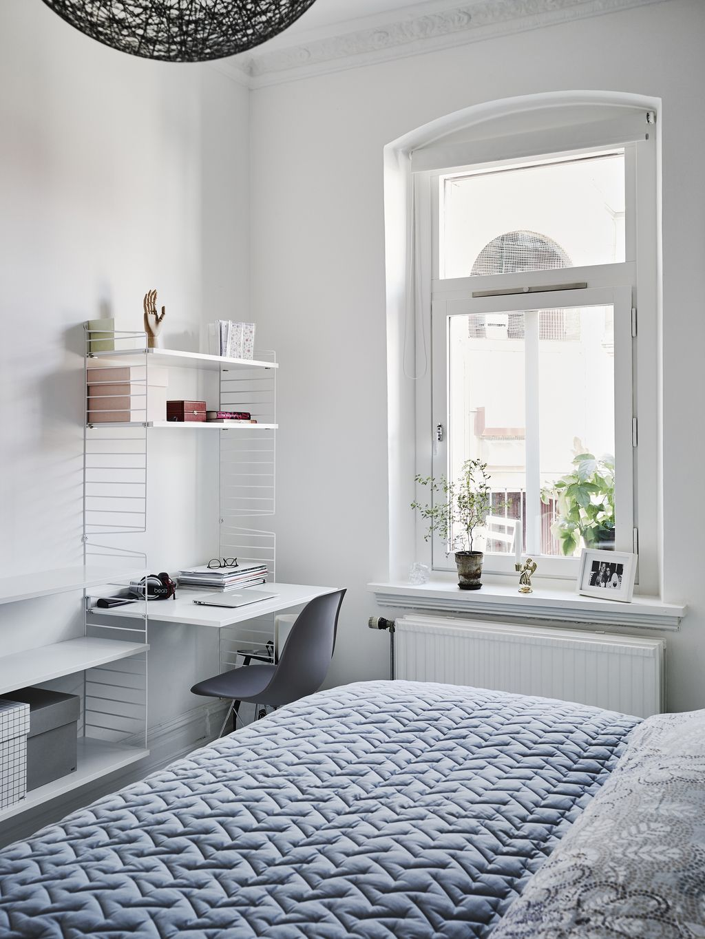blue white office space. Bright Bedroom Office Space String Shelves Blue Bedspread White Walls Large Windows L