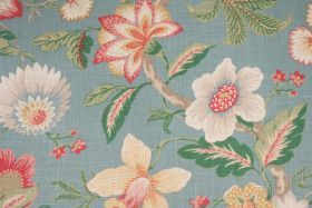 Floral/Vine Prints :: Mill Creek Mikka Printed Linen Blend Drapery Fabric in Caribbean $11.95 per yard - Fabric Guru.com: Fabric, Discount F...
