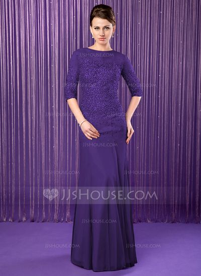 Trumpet/Mermaid Scoop Neck Floor-Length Chiffon Tulle Mother of the Bride Dress With Beading Sequins (008019704)