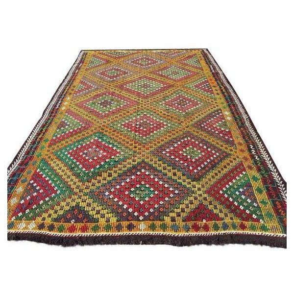 Vintage Handwoven Turkish Kilim Rug - 6'' x 10'' ($895) ❤ liked on Polyvore featuring home and rugs