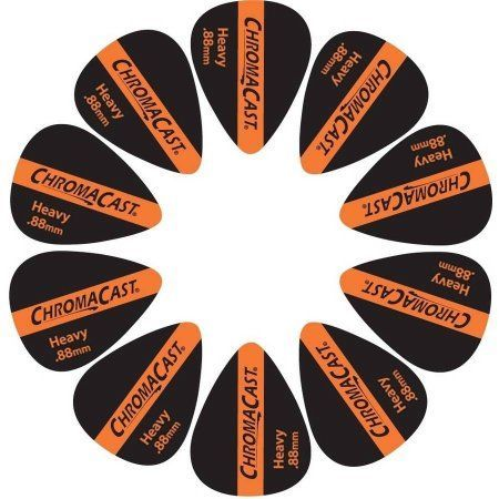 ChromaCast Vintage Guitar Pick, 10 Pack, Orange