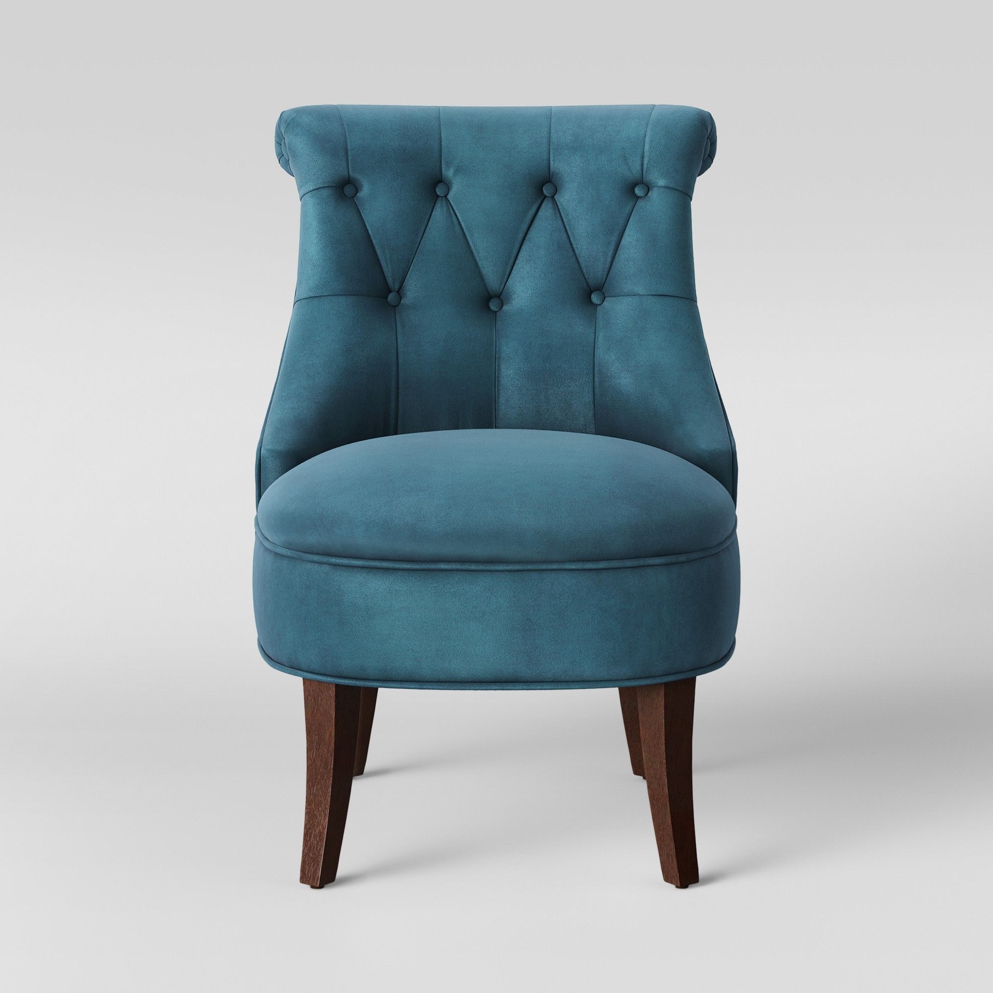 Nerine Tufted Rollback Accent Chair Velvet Blue Assembly